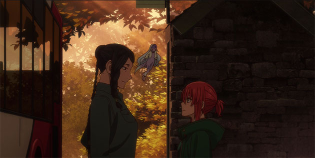 Angelica and Chise talk before parting.