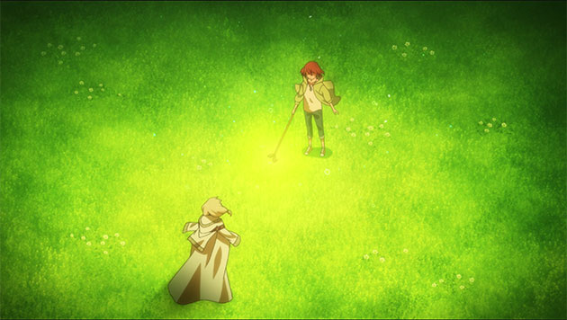 Chise using magic with her new wand.
