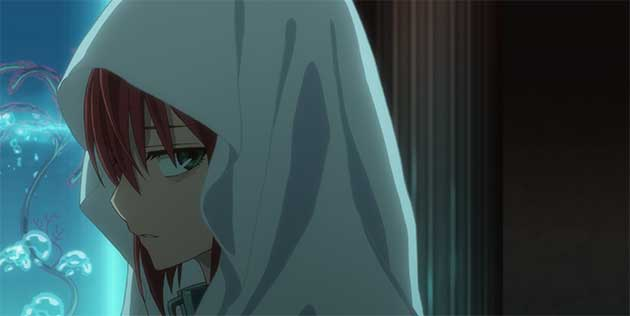Chise Hatori looking back with little emotion.